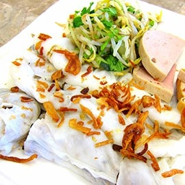 1. Banh cuon (steamed rolls made of rice-flour)
